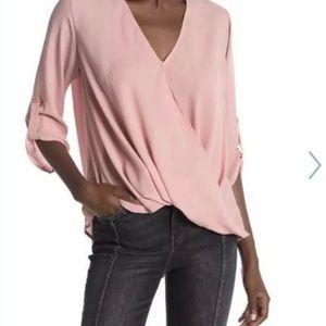 Lush Nordstrom Pink V Neck Roll Tab Sleeve Surplic